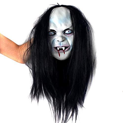 Cosplay Sadako Kostüm - Sar546fgRob Halloween Gesichtsmaske, Halloween Horror Cosplay, Sadako Yamamura Grimasse Gesichtsmaske Halloween Cosplay Party Prop Mit Haaren