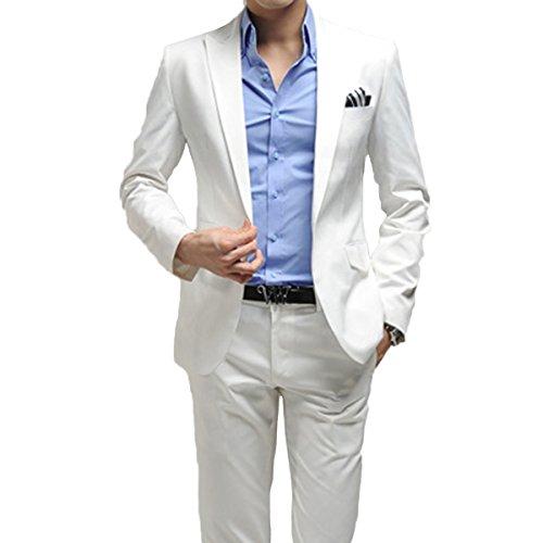 Herren Anzug 2 Teilig Sakko und Hose Slim Fit Business (Anzug Weißer Herren)