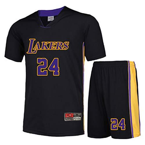 JUBAOPEN NBA Herren T-Shirt Set All-Star Basketball Wear Kurzarm Atmungsaktiv Jersey Fan Jersey Sweatshirt Set Black#24-S - 24s Set