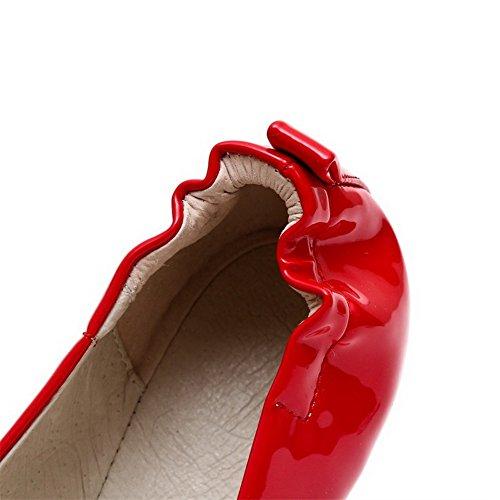AgooLar Femme Rond Tire Pu Cuir Couleur Unie à Talon Bas Chaussures Légeres Rouge