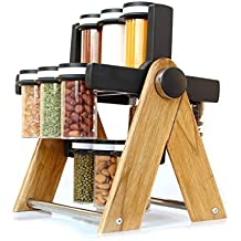 MR Products Multipurpose Plastic & Wooden Wheel Spice Rack 12 Jar, 130 ml Wooden Spice Container for Kitchen Spice Containers for Storage