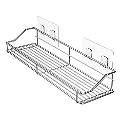 Oriware Adhesive Shower Shelf Organiser Caddy Bathroom Storage SUS304 Stainless Steel - No Drilling