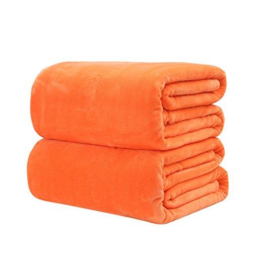 verlike Ultra Weiche Warme Doppelseitige Reisedecke, Flanelldecke für Bett, Sofa & Couch, Flanell, Orange, 150 x 200 cm
