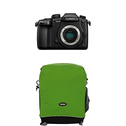 Panasonic Lumix DC-GH5EG-K Systemkamera (20 Megapixel, DUAL IS Bildstabilisator, 4K60p Videoaufname, 4K & 6K Serienbilder, Hybrid Kontrast AF, wetterfestes Magnesiumgehäuse) Gehäuse Schwarz+Rollei Traveler Fotorucksack Canyon M Green