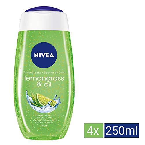NIVEA 4er Pack Duschgel mit Pflegeöl-Perlen, Limonengras Duft, 4 x 250 ml Flasche, Lemongras & Oil