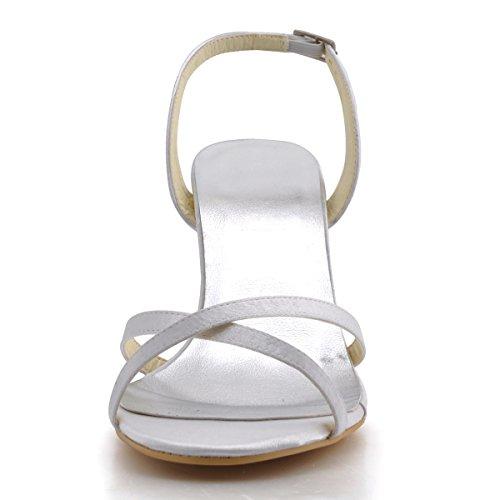 ElegantPark EP2105 Escarpins satin bride arriere bride crooix Femme Chaussures de mariee mariage Ivoire