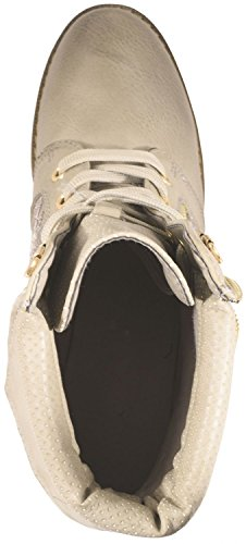 Elara Damen Stiefelette | Biker Boots | Trendy Lederoptik Beige Reißverschluss