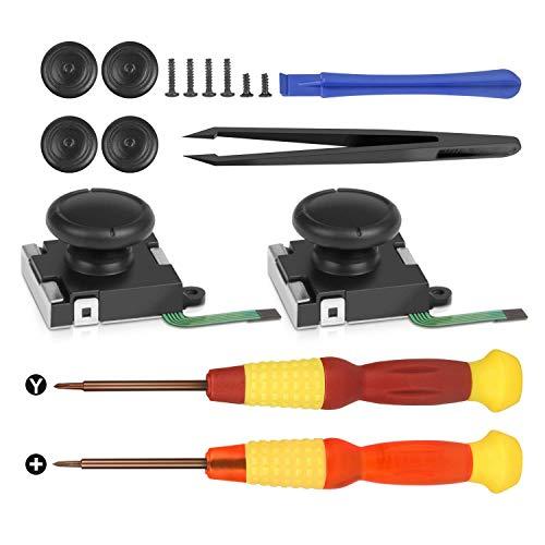 Younik 3D Ersatz Joystick Analog Thumb Stick für Nintendo Switch Joy-Con Controller mit 4 Thumbstick-Kappen, Tri-Wing & Kreuzschlitz-Schraubendreher und Reparaturwerkzeug