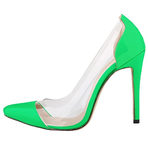 HooH Femmes Transparent Splicing Pointu Stiletto Escarpins Vert