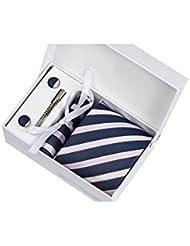 Coffret Cadeau Sydney - Cravate bleu marine à larges rayures roses et blanches striées, boutons de manchette, pince à cravate, pochette de costume