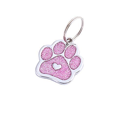 Pet Id Tag Kragen AnhäNger Paw Niedlichen Mini Haustier Halskette SchlüSselbund Schmuck(Rosa) ()