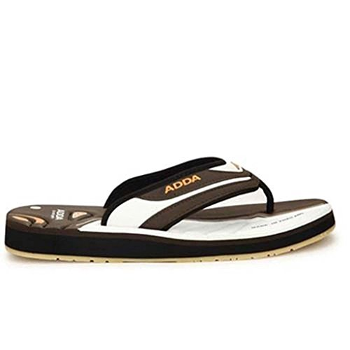 Adda Men's Khaki White synthetic house slippers and Thong Sandals 9 uk  available at amazon for Rs.499