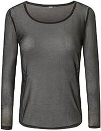 YiLianDa Manga Larga Transparente De Las Mujeres Mesh Camisetas Largas
