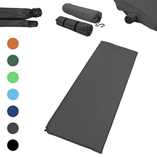 Outdoor Isomatte, selbstaufblasend, ca. 2 m Länge, inkl. Flick Set - selbstaufblasbare Luftmatratze geeignet zum Camping und fürs Zelt mit kleinem Packmaß (grau, 3 cm Polsterdicke)