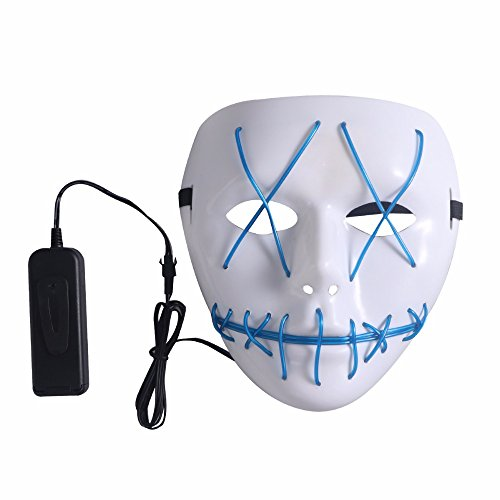 ary Maske, Halloween Cosplay LED Kostüm Maske EL Draht Licht Maske für Halloween, Festival Parteien (Blau) ()
