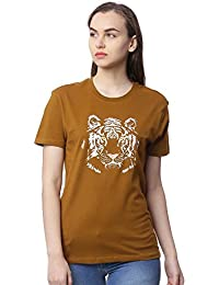 Wolfpack Tiger Greenish Brown Round Neck Short Sleeve 100% Cotton Girls/Womens T-Shirt for Animal Lovers - Glow at Night