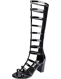 YE Damen Gladiator Kniehoch Lang Sommerstiefel Open Toe Blockabsatz High Heel Leder Sandalen Schuhe