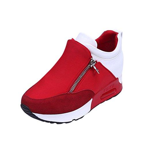 FEITONG Frauen Stiefel Damen Sneakers Winter Freizeit Wasserdicht Schuhe Anti-Slip Laufen Wandern Sport Dicke Plattform Schuhe (CN:36=EU:35, Rot) (- Plattform-schuh)