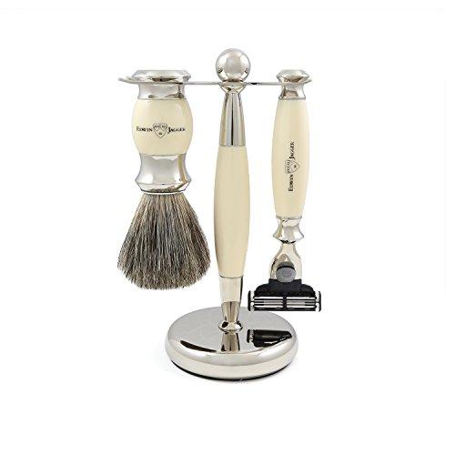 Edwin Jagger Rasur-Geschenk-Set- Pure Badger Dachshaar-Rasierpinsel, Gillette Mach 3 Rasierer und Ständer, Elfenbeinimitation - 3-piece Shave Set