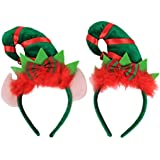 TENDYCOCO 2PCS Christmas Elf Hat Headbands With Ears Jingle Bell On The Top Cute Holiday Party Elf Headband For Kids Adult Holiday Christmas Decorations