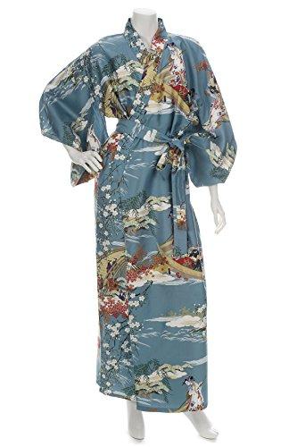 Kimono Japonais Bleu et Long XL Imprimé Geisha