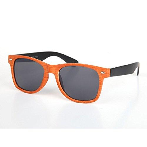 Wayfarer Nerdbrille 400 UV mandorle ornamentale grano disegno di legno d'arancio-nero
