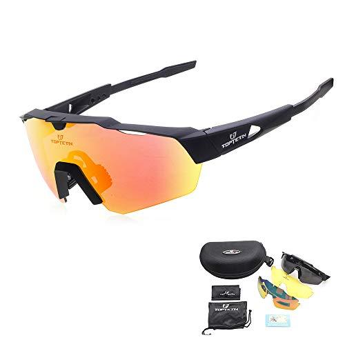 Toptotn Occhiali da Sole Sportivi polarizzati Lenti intercambiabili per Uomo Donna Ciclismo Corsa Guida Pesca Golf Baseball (Rosa) (Nero)