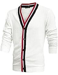 Hommes À Manches Longues Col V Texturé Design Mode Cardigan