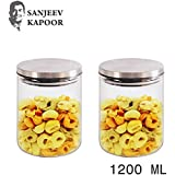 Sanjeev Kapoor Classic Borosilicate Glass Jar with Wodden Lid, 1200 ml, Transparent, Set of 2
