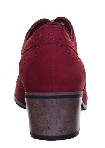 Justin Reece Damen Leder Lace Up Medium Ferse Schuhe Brogue Block Red FC1