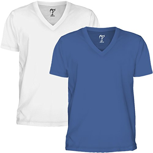 Tripr Men's V-Neck Tshirt Combo White Royal Blue (Medium)  available at amazon for Rs.399
