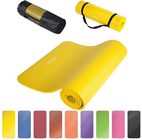 Readaeer® Fitnessmatte Yogini für Gymnastik Yoga Pilates 183 x 61 x 1,0 cm mit Tasche und Tragegurt(Gelb)