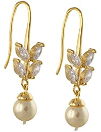 Zephyrr Fashion Gold Tone Hook Earrings With Pearls For Girls And Women