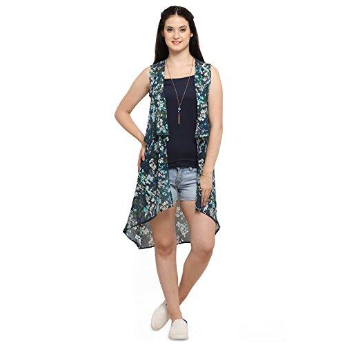 Serein Women's blue/green floral chiffon summer shrug / long jacket (Medium)