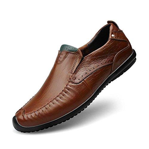 HUAN Hommes Casual Chaussures en Cuir Mocassins Plat Respirant Chaussures de Marche Confort Conduite Chaussures Formelle Travail Professionnel brown