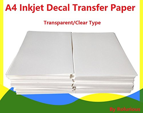 A4 Inkjet Water Slide Decal Paper 20 Sheets Transparent Clear DIY for Inkjet Printer
