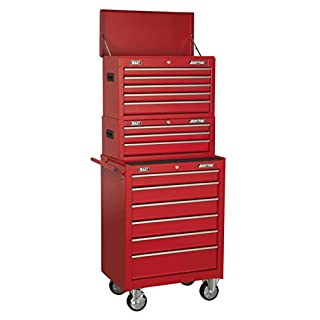 Sealey American Pro 14 Drawer Roller Cabinet, Mid & Top Tool Chest Red