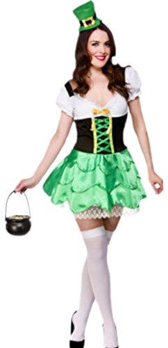 Zauberclown - Damen Kobold Karnevalkostüm mit Hut , XL, Grün