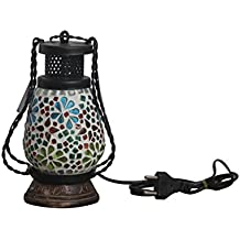 100 Degree Celsius Wrought Iron, Glass with Wood Base Decorative Lamp