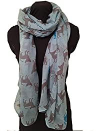 Aqua blue with beige and blue silhouette chihuahua dogs, Long Scarf, Soft Ladies Fashion London