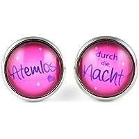 """SCHMUCKZUCKER Damen Ohrstecker """"Atemlos durch die Nacht"""" silberfarben pink blau 14mm"""