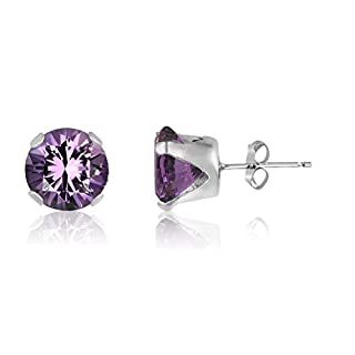 12MM Classic Brilliant Round Cut CZ Sterling Silver Stud Earrings - AMETHYST PURPLE - or Choose From 2mm to 12mm. 12-AME