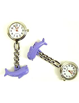 N$B BU-90 Super süße Delphin Krankenschwester Uhr Lila