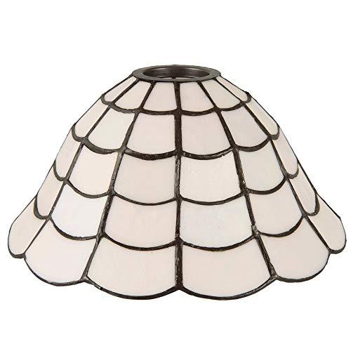 Lumilamp 5LL-5935 Lampenschirm Art Deco Weiss Tiffany Ø 24 * 12 cm dekoratives buntglas Tiffany Stil