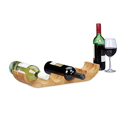 Relaxdays Weinregal aus Bambus, für 6 handelsübliche Flaschen, originelles Design, liegend, HBT: ca. 8 x 47,5 x 11,5 cm, natur