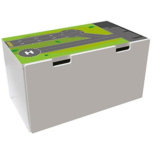 Möbelaufkleber Landebahn - passend für IKEA STUVA Banktruhe - Kinderzimmer Spieltisch - Möbel Nicht inklusive