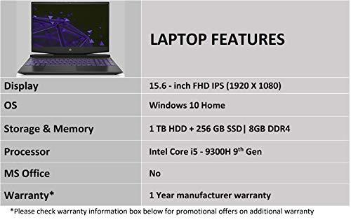 HP Pavilion 15-dk0045TX 2019 15.6-inch Gaming Laptop (ninth Gen Core i5-9300H/8GB/1TB HDD + 256GB SSD/Windows 10/4GB NVIDIA GTX 1050 Graphics), Shadow Black Image 5