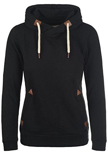 DESIRES VickyHood Damen Damen Hoodie Kapuzenpullover Pullover Mit Kapuze Cross-Over-Kragen Und Fleece-Innenseite, Größe:M, Farbe:Black (9000)