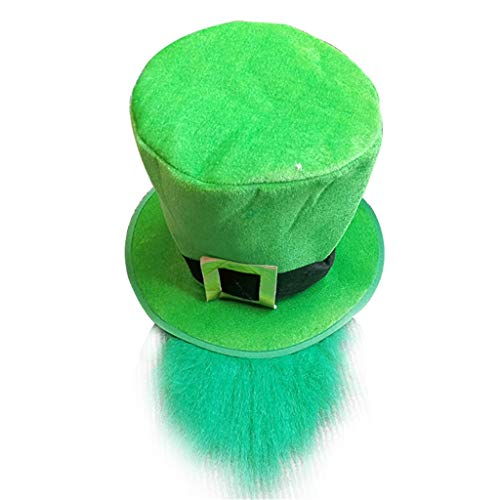 Mitlfuny Karnevalsparty Fancy Festival Zubehör,St. Patricks Day Costume Green Leprechaun Zylinder und Bart