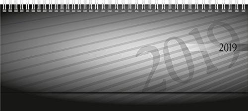 rido/idé 703610290 Tischkalender/Querterminbuch septant, 2 Seiten = 1 Woche, 305 x 105 mm, PP-Einband anthrazit, Kalendarium  2019, Wire-O-Bindung, verlängerte Rückwand